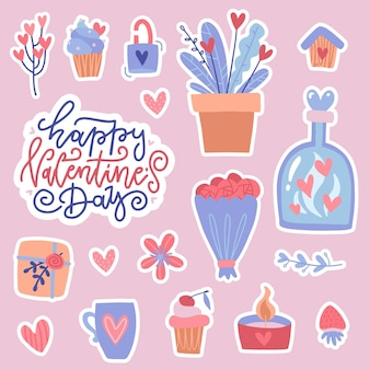 Set of color doodle stickers or patches for valentine's day isolated on pink background.