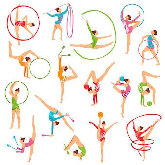 Set of color gymnast girl figures