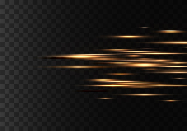 Set of color horizontal rays, lens, lines. laser beams. yellow, gold luminous abstract sparkling lined. light flares, effect. vector