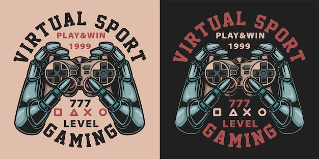 Set of  color illustrations with joystick in vintage style. text in a separate group.