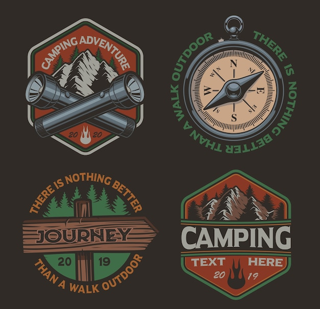 Set of  color logos for the camping theme. perfect for posters, apparel, t-shirt  and many other. layered