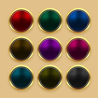 Set of color metallic golden buttons