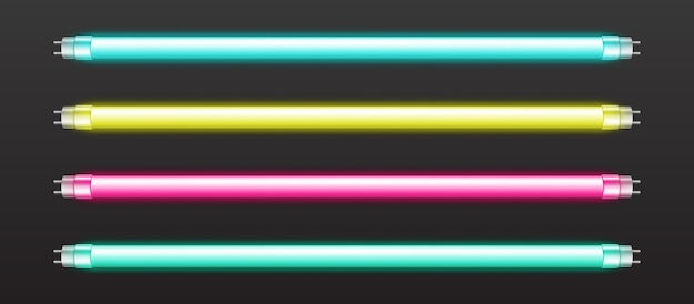 Set of color neon tube lights