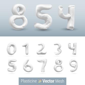 Set of color plasticine figure