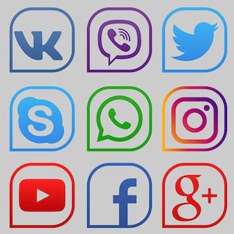 Set of color popular social media icons youtube instagram twitter facebook whatsapp skype