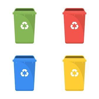 Set of color recycle bin icons isolated on white background.