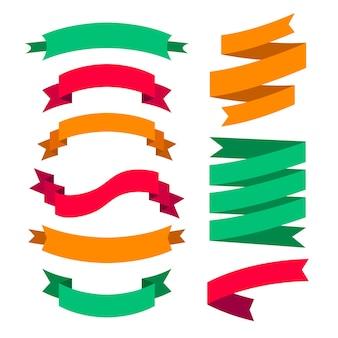 Set of color ribbons Premium Vector