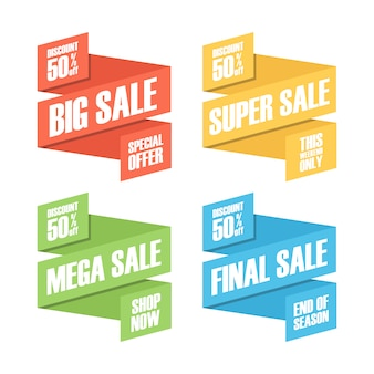 Set of color sale discount and promotion badges, stickers or labels.