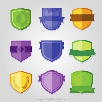 Set of color shields in flat design