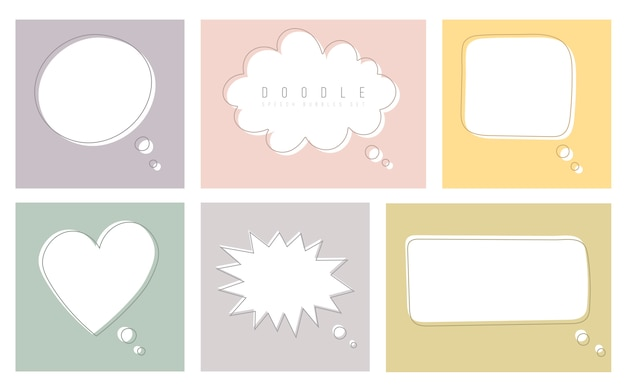 Set of color speech bubbles in drawing style. dialog windows with space for phrases and text messages.