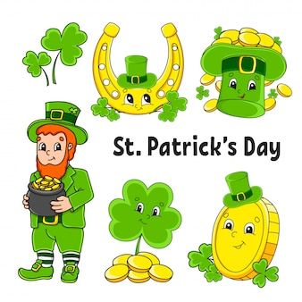 Set of color stickers for kids. leprechaun with a pot of gold, gold coin, green clover, hat, golden horseshoe. st. patrick 's day.
