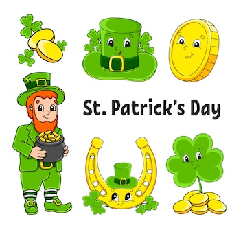 Set of color stickers for kids. st. patrick 's day. leprechaun with a pot of gold, gold coin, clover, hat, golden horseshoe.