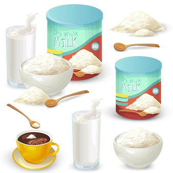 Set of color vector illustrations of whole milk powder.