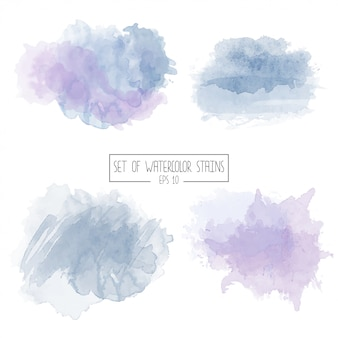 Set of color vector watercolor stains