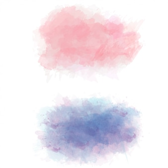 Set of color vector watercolor stains Premium Vector