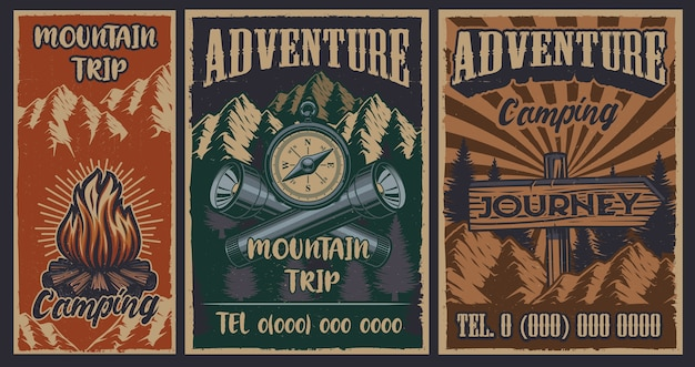 Set of color vintage posters on the theme of camping. vector