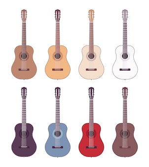Set of colored acoustic guitars