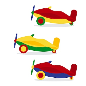 Set of colored airplanes