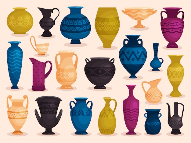 Set of colored antique vases