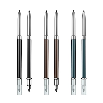 Set of colored black brown blue gray double sided cosmetic makeup eyeliner pencils