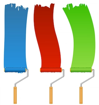Set of colored blue, red and green paintbrushes