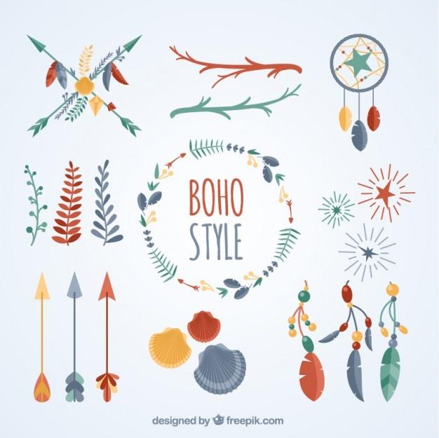 Set of colored boho objects
