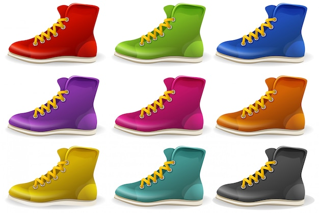 Set of colored boots and shows isolated