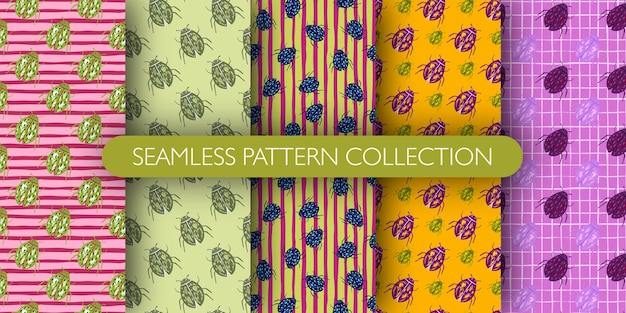 Set of colored bugs silhouettes seamless botanic pattern. doodle insects print collection