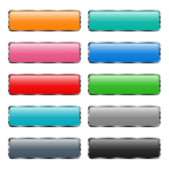 Set of colored buttons with glare on grey background