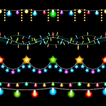 Set colored christmas lights on dark background