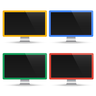 Set of colored computers with black screen isolated. realistic monitor