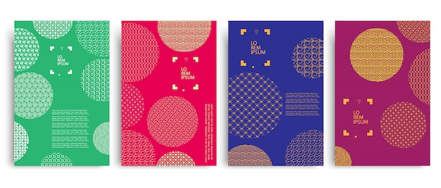 Set of colored covers with circles and different geometric patterns
