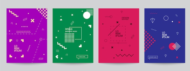 Set of colored covers with minimal design and geometric forms