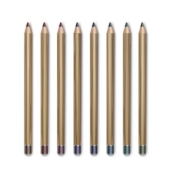 Set of colored dark brown vinous blue green violet purple cosmetic makeup eyeliner pencils