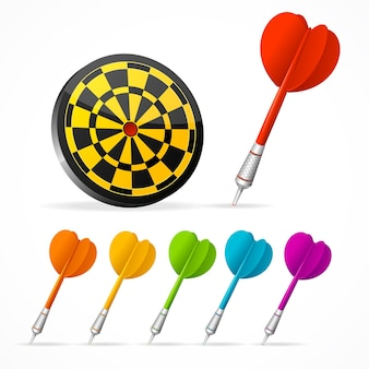 Set of colored darts and target.