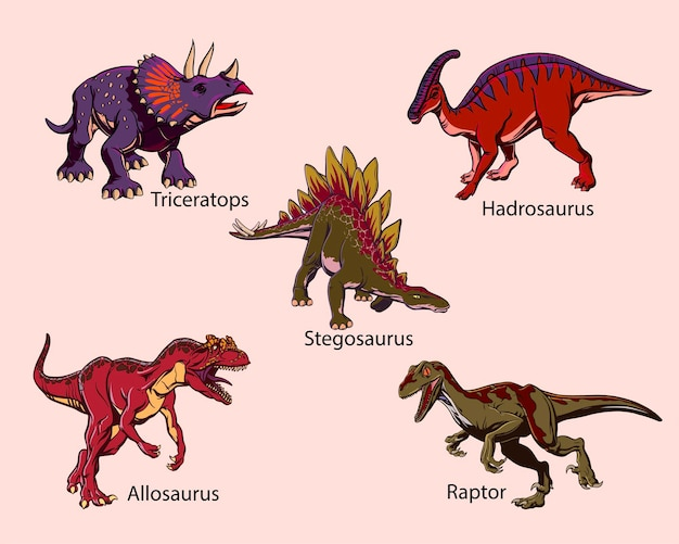Set of colored drawn dinosaurs in pop art style for printing. vector illustration