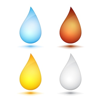 Set of colored drops on white background, vector eps10 illustration
