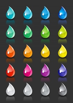 Set colored drops with reflection