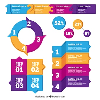 Set di elementi colorati per infografia