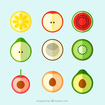 Set of colored exotic fruits