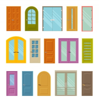 Set of colored front closed doors to houses and buildings.  with and without glass.   illustration.