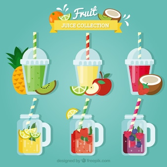 Set of colored fruit juices in flat design
