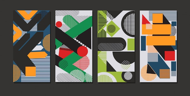 Set colored geometric forms abstract background banners modern graphic elements online mobile app memphis style horizontal