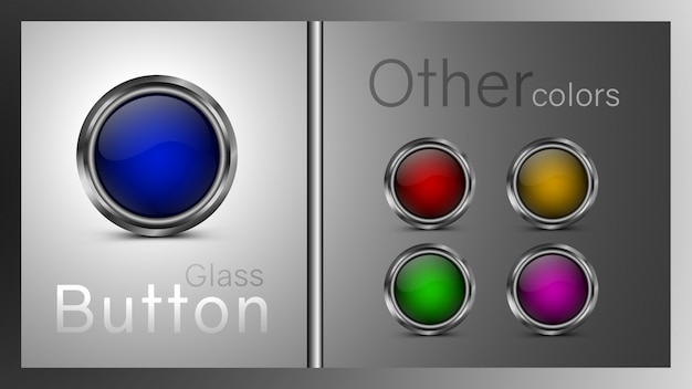Set of colored glass buttons blue, green, yellow, red, pink color.