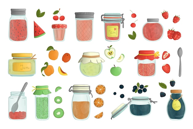 Set of colored glass jam jars watercolor style isolated on white background. colorful collection of preserved food in pots with fruit and berries.