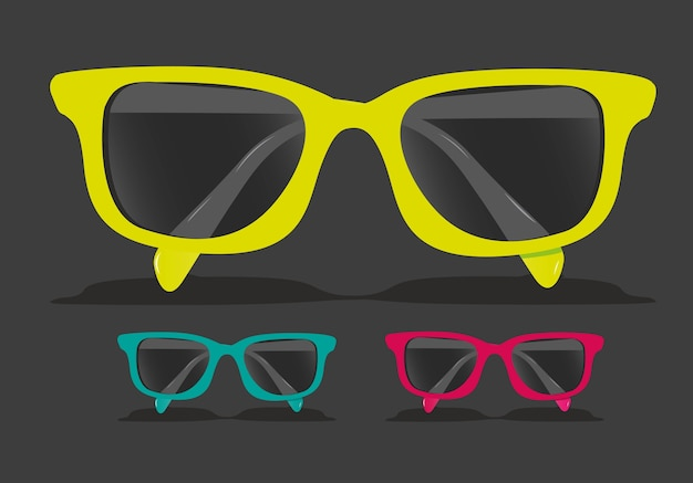 Set of colored glasses vector illustration