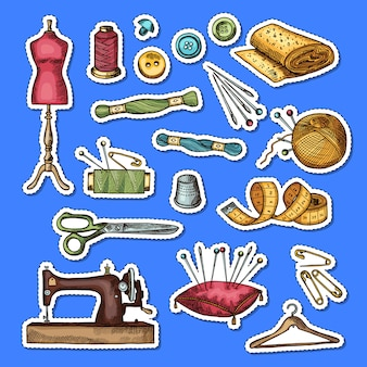 Set of colored hand drawn sewing elements stickers illustration