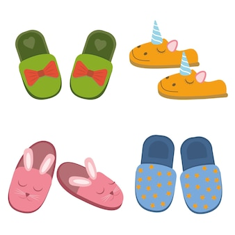 A set of colored home slippers