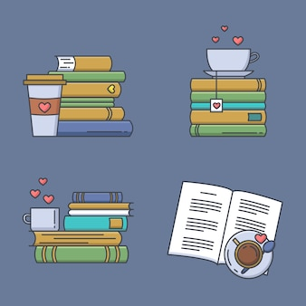 Set of colored icons for book fans. book stacks, coffee or tea mugs and paper cups.