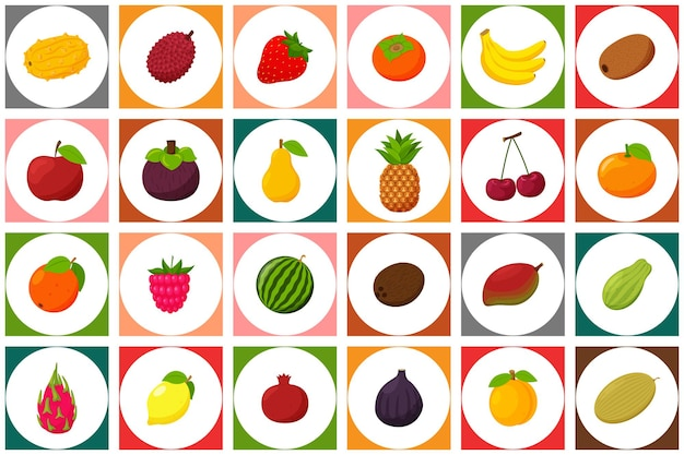 Set of colored icons with fruits and berries seamless pattern